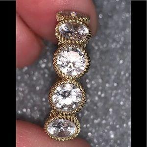 Judith Ripka Gold Clad Sterling Silver Cz Ring Sz8